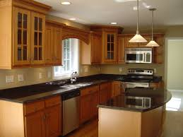 marvelous l shaped island and wooden cabinets vicinity two conical