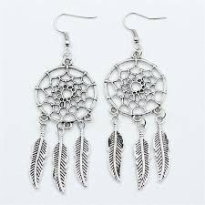 silver feather earrings 2018 4 styles handmade indian style antique silver feather drop