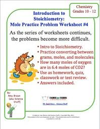 mole practice worksheet 4 stoichiometry by amy brown science tpt
