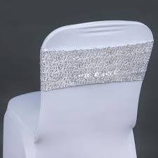silver chair sashes 5pc x spandex sequined chair sash silver tablecloths factory