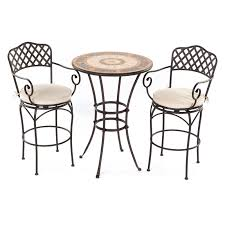 Cast Iron Bistro Table Rounded Black Cast Iron Bistro Table Mixed White Fabric Cushioned