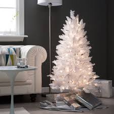 4ft christmas tree 4 ft white tinsel pre lit christmas tree by sterling tree