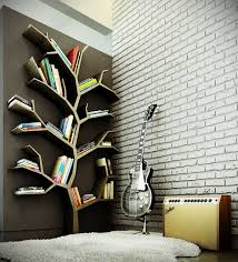 modern wood bookshelves design with tree branch theme