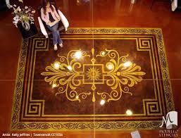 Painted Rug Stencils Painted Faux Carpet U0026 Large Ceiling Panels Custom Modello