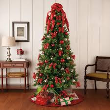 red and green themed traditional christmas tree decorating kit
