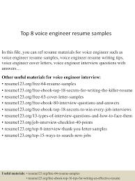 objective for software developer resume top8voiceengineerresumesamples 150517032435 lva1 app6892 thumbnail 4 jpg cb 1431833118