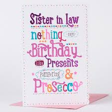 birthday card sister in law u0026 proseccos only 99p