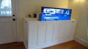 auto raising tv cabinet make a diy home theater tv lift cabinet