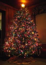 simple decoration colored tree lights happy holidays