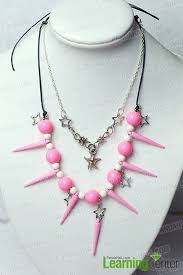 pink leather necklace images Tutorial on pink beaded necklace with leather cord jpg
