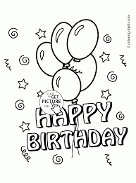 happy birthday card with balloons coloring page for kids holiday