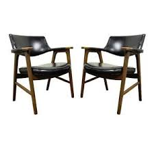 pair vintage mid century modern paoli chair co solid wood arm