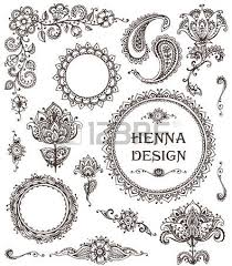 vector set of henna floral elements based on traditional asian