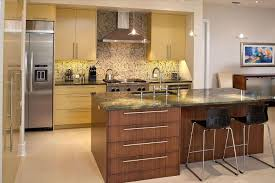 modern american kitchen with high stools like a cafe kitchen