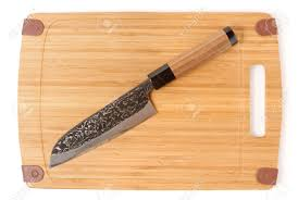 high quality japanese chef knife on bamboo cutting board stock