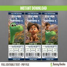 disney the good dinosaur birthday ticket invitations instant