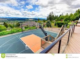 Backyard Sport Courts by House Backyard With Sport Court And Patio Area Stock Photo Image
