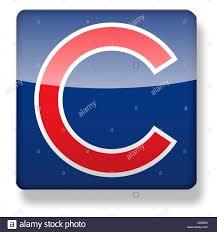 Cubs Flag Chicago Cubs Baseball Cap Logo As An App Icon Clipping Path Stock