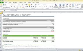 Monthly Budget Template Excel Family Monthly Budget Template For Excel