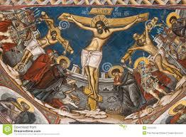 crucifixion of jesus icon from modovita monastery royalty free