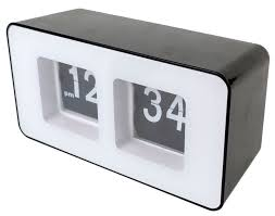 bw retro auto flip clock classic stylish modern desk wall clock