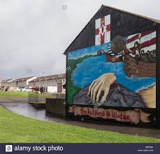 belfast wall murals stock photos belfast wall murals stock wall painting of the red hand of ulster on side of house in belfast northern