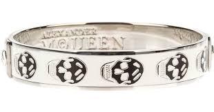 skull bangle bracelet images Lyst alexander mcqueen enamel skull bangle in white jpeg