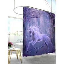 Lavender Bathroom Decor Unicorn Fairyland Bathroom Decor Shower Curtain In Purple W71 Inch