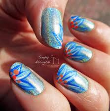rainbow glitter car simply nailogical blue holo with tropical flowers