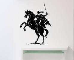 zorro wall sticker horse rider vinyl decal home interior zoom