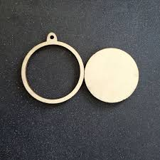 60pcs unfinished blank wood circle ornaments frame wooden laser cut