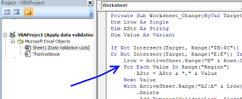 apply data validation lists dynamically vba