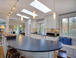 pendanting for kitchen island track and lamps over also skylight
