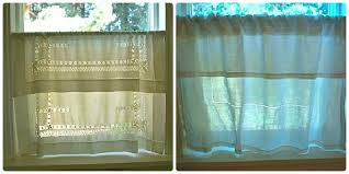 cafe curtains from vintage linens the happy housewife home