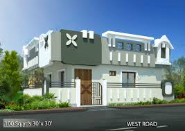 House Elevation Way2nirman 100 Sq Yds 30x30 Sq Ft West Face House 1bhk Elevation