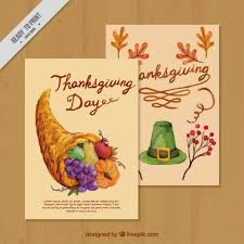 watercolor greeting cards of thanksgiving vector free