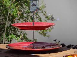 Red Cake Plate Pedestal Classic Stainless Steel Cake Stand Design Featuring Two Tiered