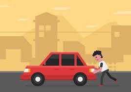 vector man pushing car download free vector art stock graphics