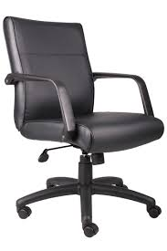Black Leather Office Chair B686 Boss Mid Back Black Leather Swivel Office Chair