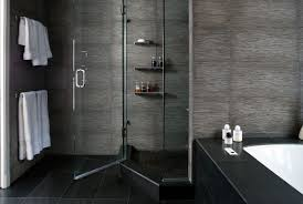 Dark Tile Bathroom Ideas by Bathroom White Tile Flooring Frameless Shower Stall Handle Towel
