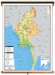 Physical Map Of Asia by Myanmar Burma Physical Educational Wall Map From Academia Maps