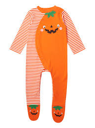 baby orange halloween pumpkin sleepsuit 0 12 months tu clothing