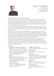 Self Employed Resume Template Cv D Nezhinsky Devops