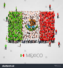 Mexican State Map by Large Group People Shape Mexican Flag Stock Vector 478451017