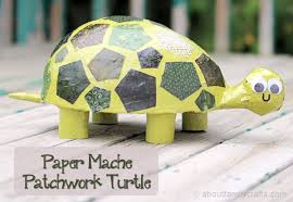 paper mache patchwork turtle about family crafts