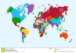 Atlas Map World Map Colorful Countries Atlas Eps10 Vector F Stock Photo