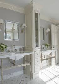 Tall White Linen Cabinet Ivory And Gray Bathroom With Tall Linen Cabinet Between His And