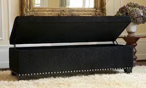 impressive black bench with storage black synthetic leather