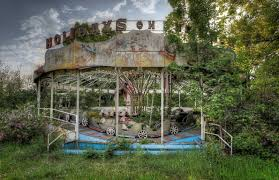 Mysterious Abandoned Places Jungle Ride Vintage Caterpillar Ride Left Behind In An Abandoned