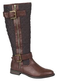 womens quilted boots uk womens quilted biker knee high boots flat buckle